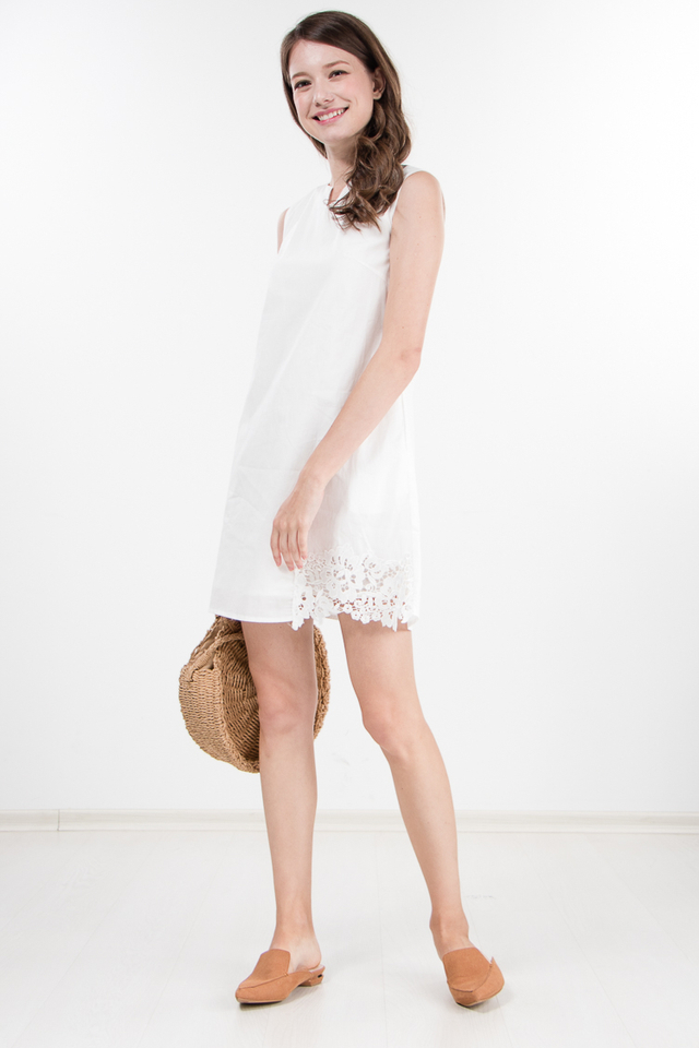 Nerra Crochet Shift Dress in White