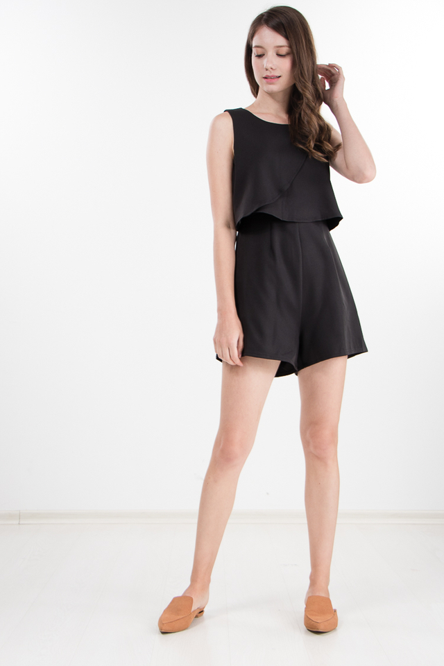 Iris Lace Romper in Black