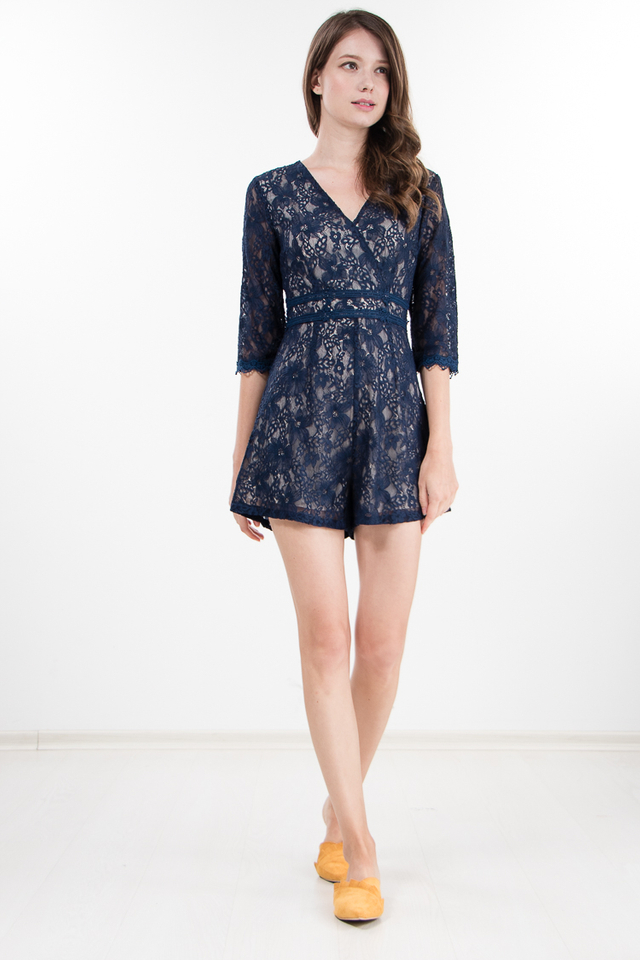 Pegeen Lace Romper in Navy Blue