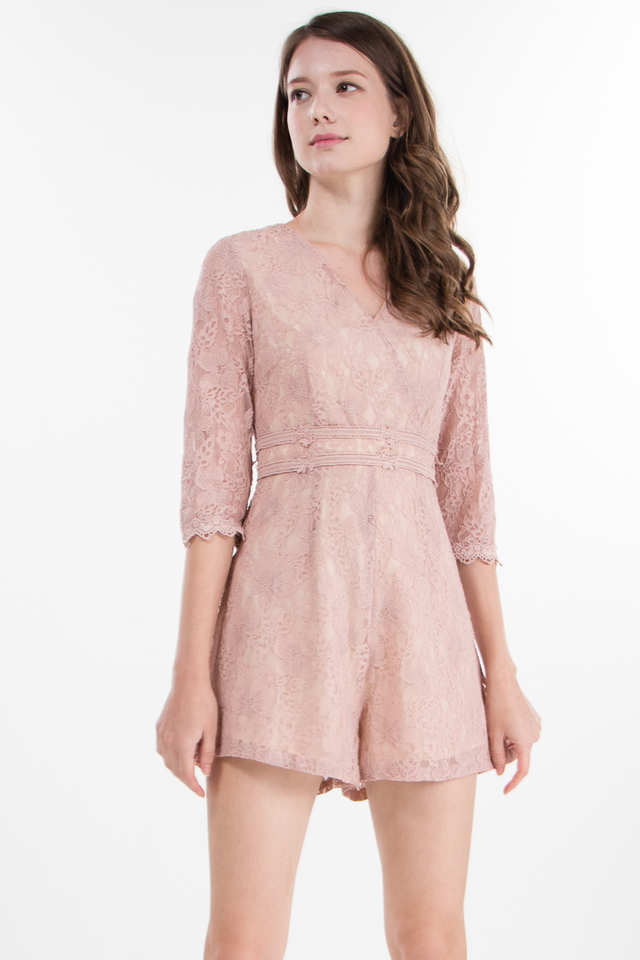 Pegeen Lace Romper in Pink