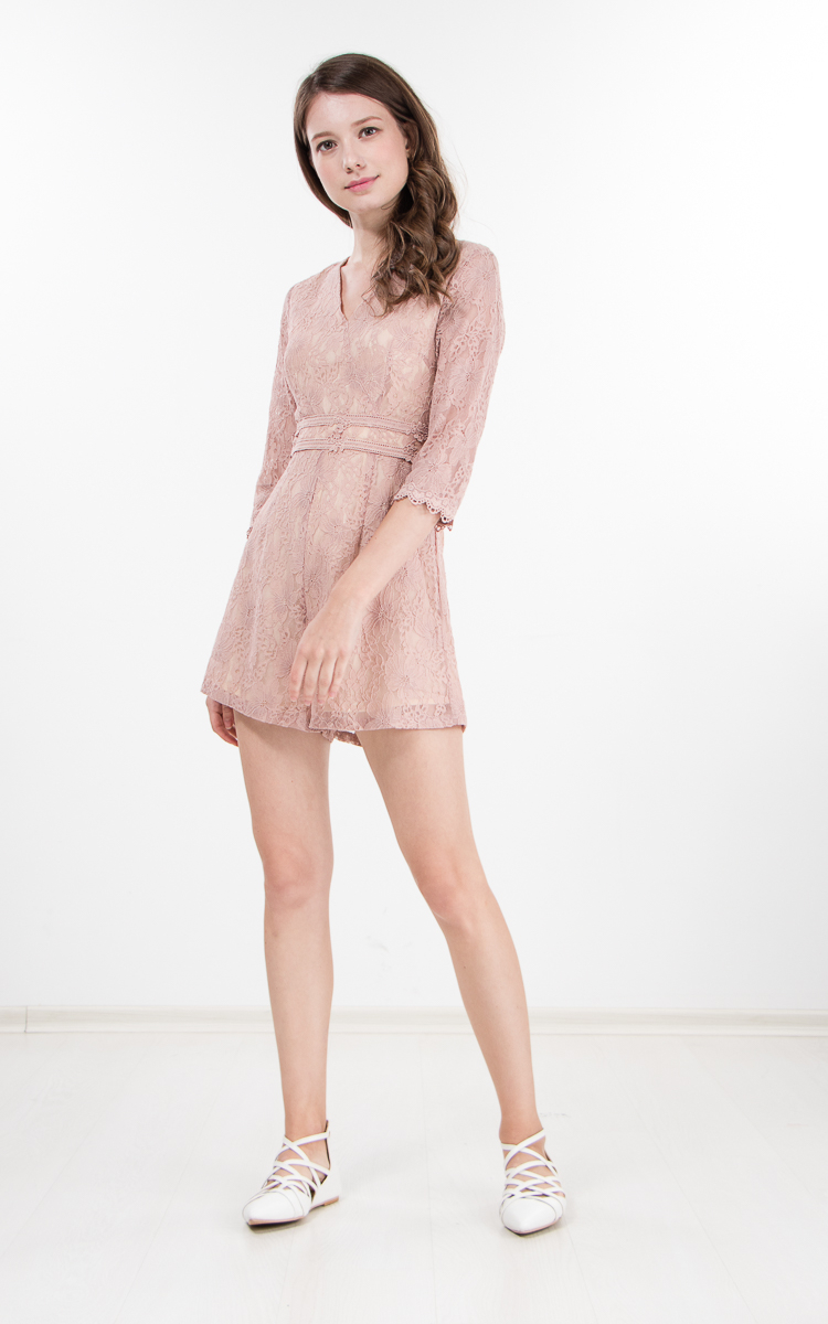 ad3eae008 Pegeen Lace Romper in Pink | Ninth Collective