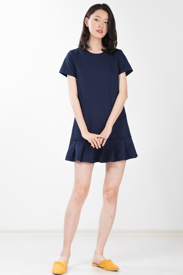 Alaric Pleated Dress in Navy Blue