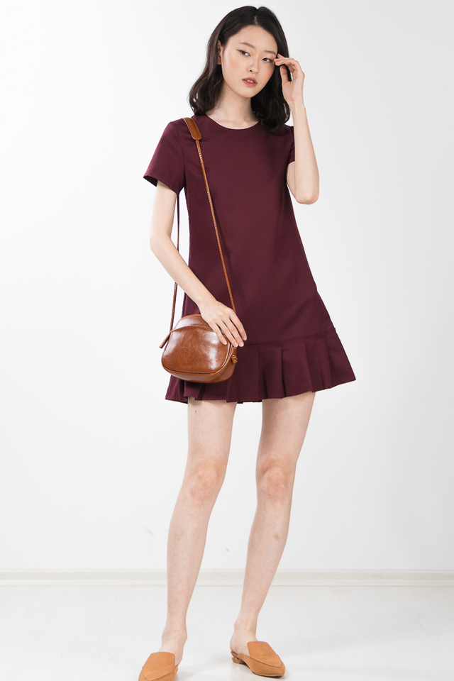 Alaric Pleated Dress in Wine Red