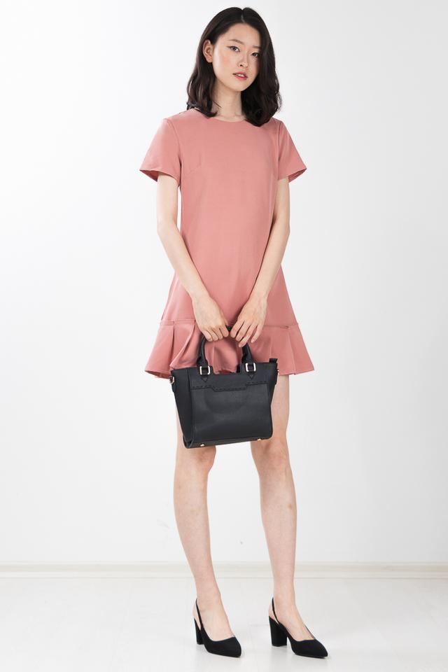 Alaric Pleated Dress in Chestnut Rose