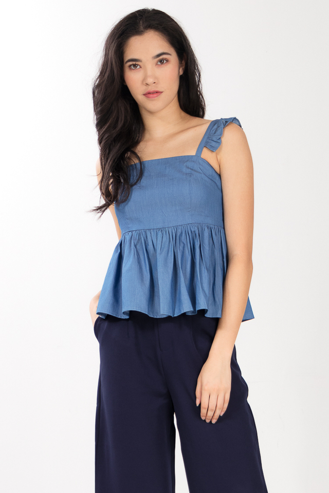 Agnes Denim Ruffled Top
