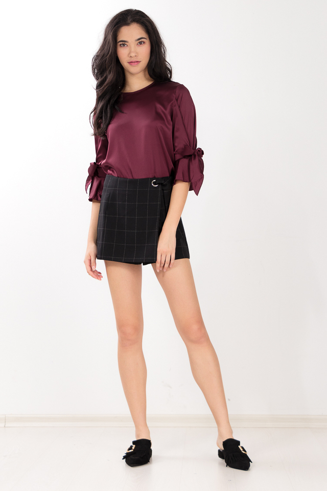 Sarina Top in Wine Red