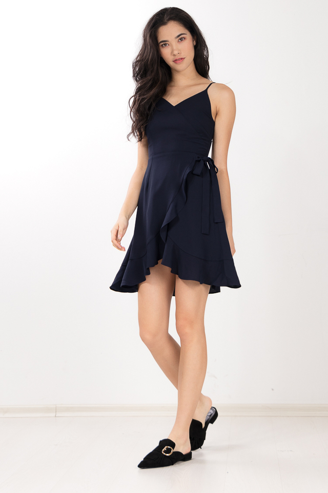 Pelita Ruffled Dress in Navy Blue