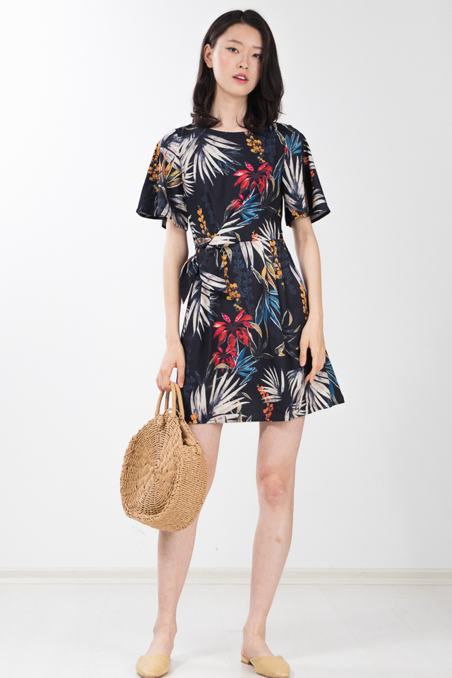 Urania Printed Dress in Black