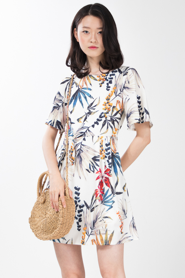 Urania Printed Dress in White