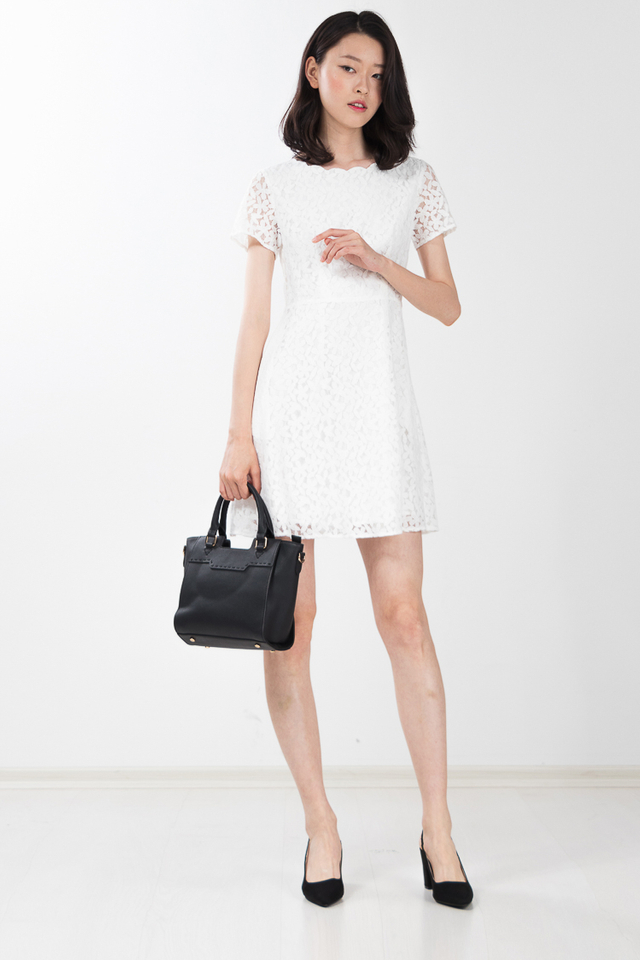 Thyra Crochet Lace Dress in White
