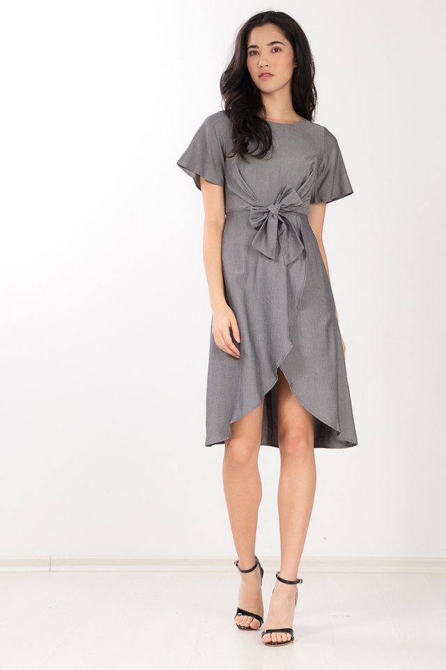 Shelvia Bow Dress in Grey