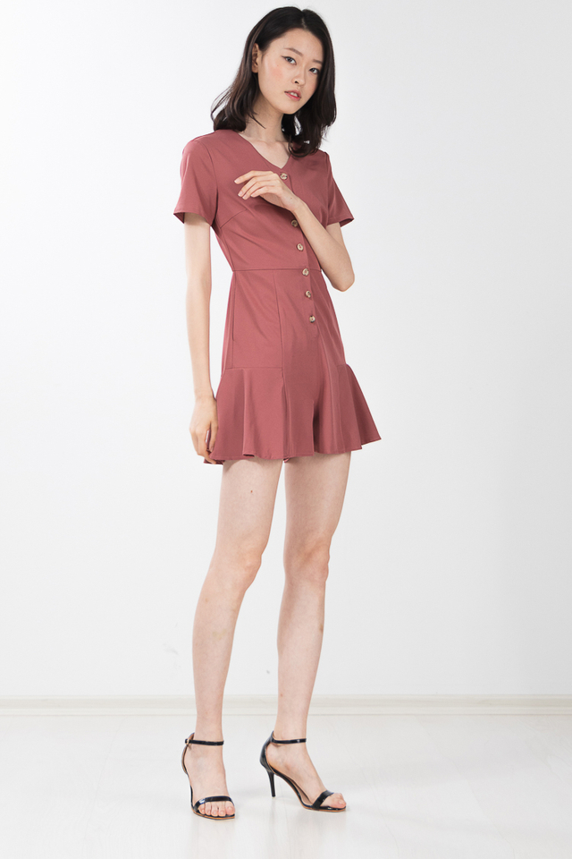 Habib Romper in Chestnut Rose