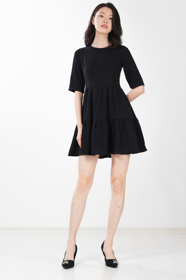 Malika Tiered Dress in Black