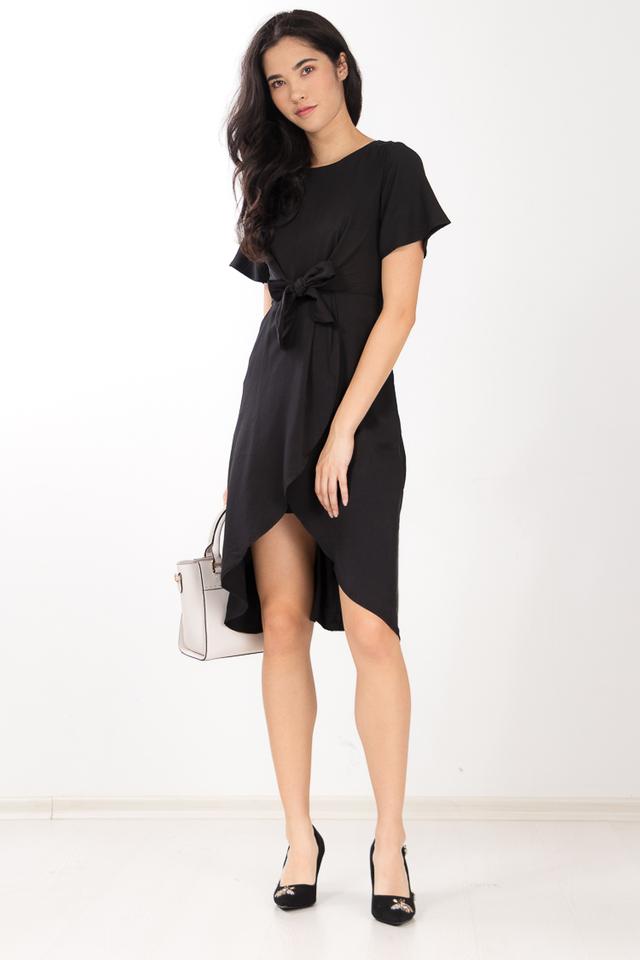 Shelvia Bow Dress in Black