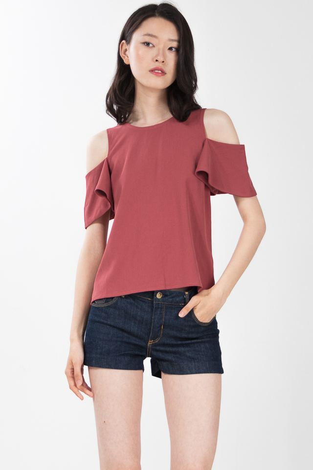 Taylin Drop Shoulder Top in Chestnut Rose