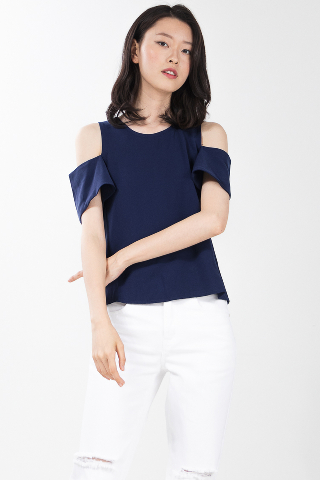 Taylin Drop Shoulder Top in Navy Blue