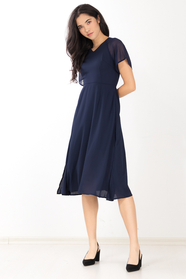 Ylva Midi Dress in Navy Blue