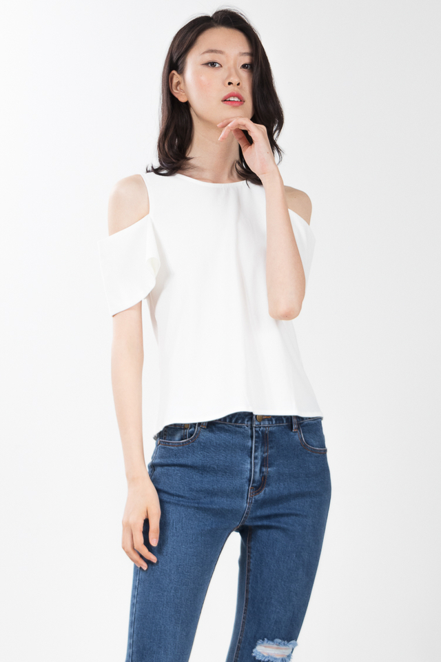 Taylin Drop Shoulder Top in White