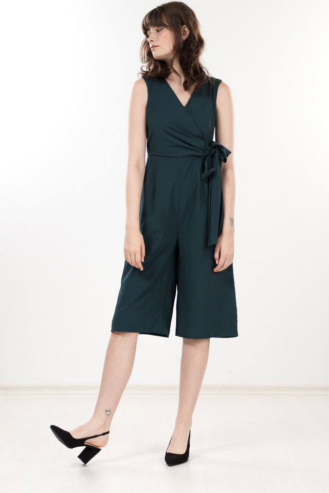 Yudith Tie Jumpsuit in Forest Green