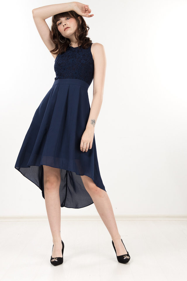 Femi Lace Dress in Navy Blue