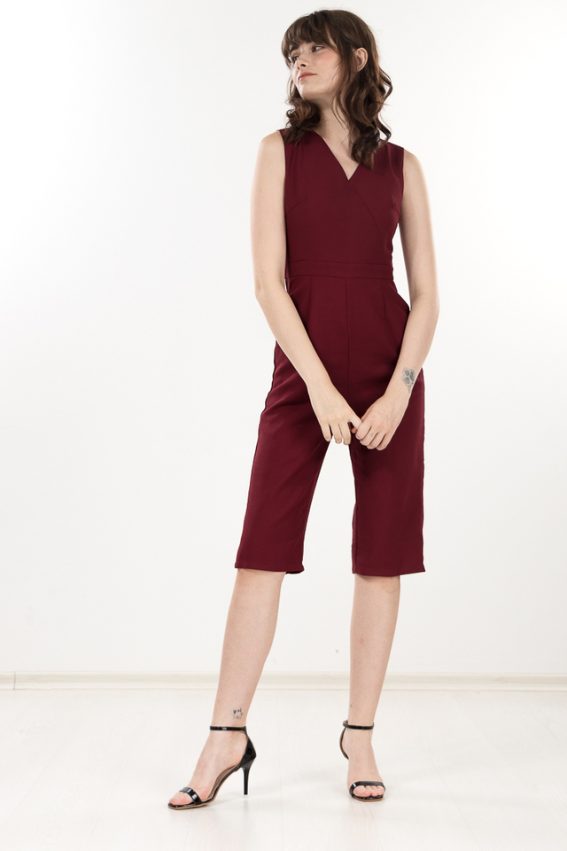 Micelia Jumpsuit in Wine Red