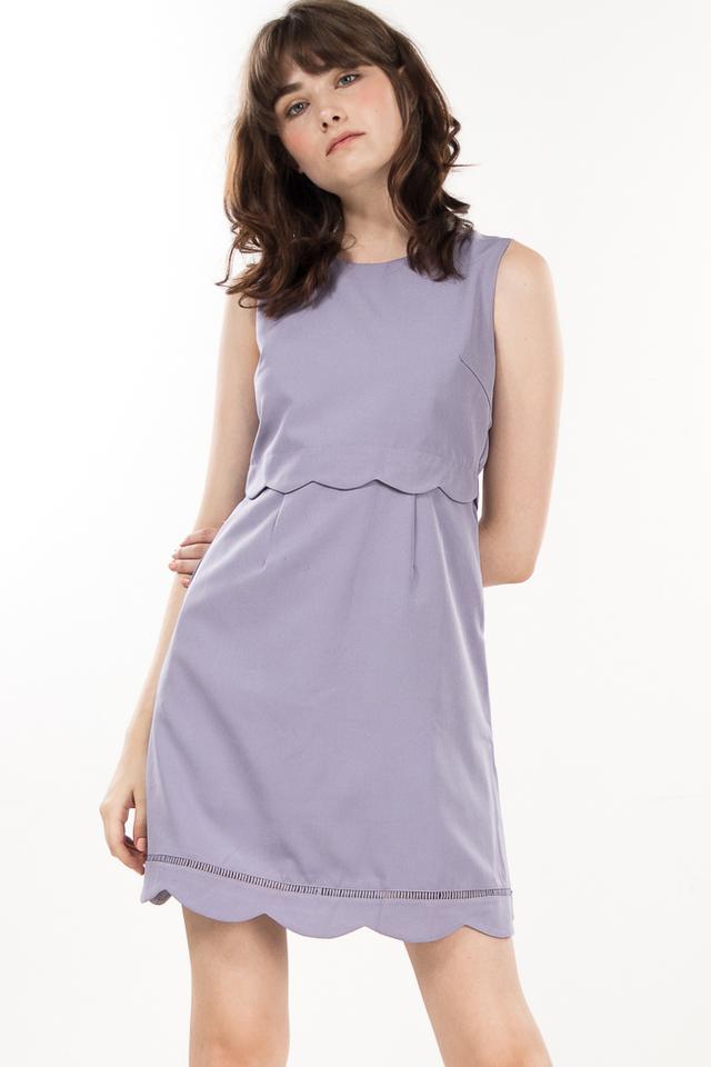 Fenize Scallop Dress in Lavender Grey