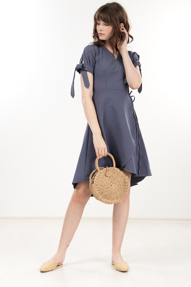 Hester Dress in Dusty Blue