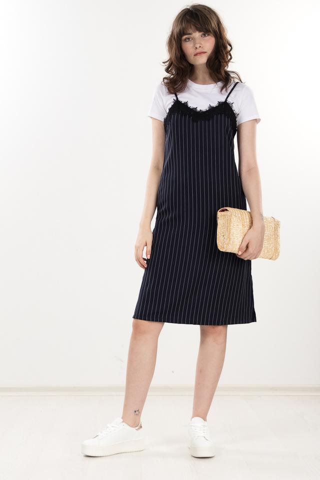 Cloveu Striped Midi Dress in Navy Blue
