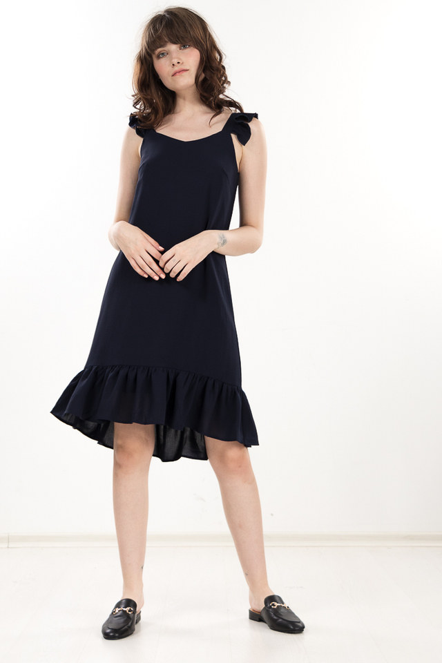 Pamela Ruffled Dress in Navy Blue