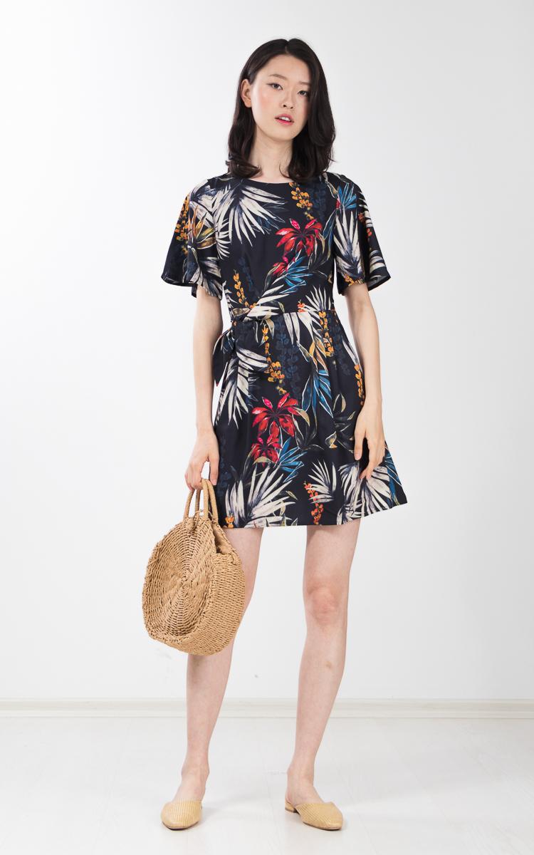 Urania Printed Dress in Black