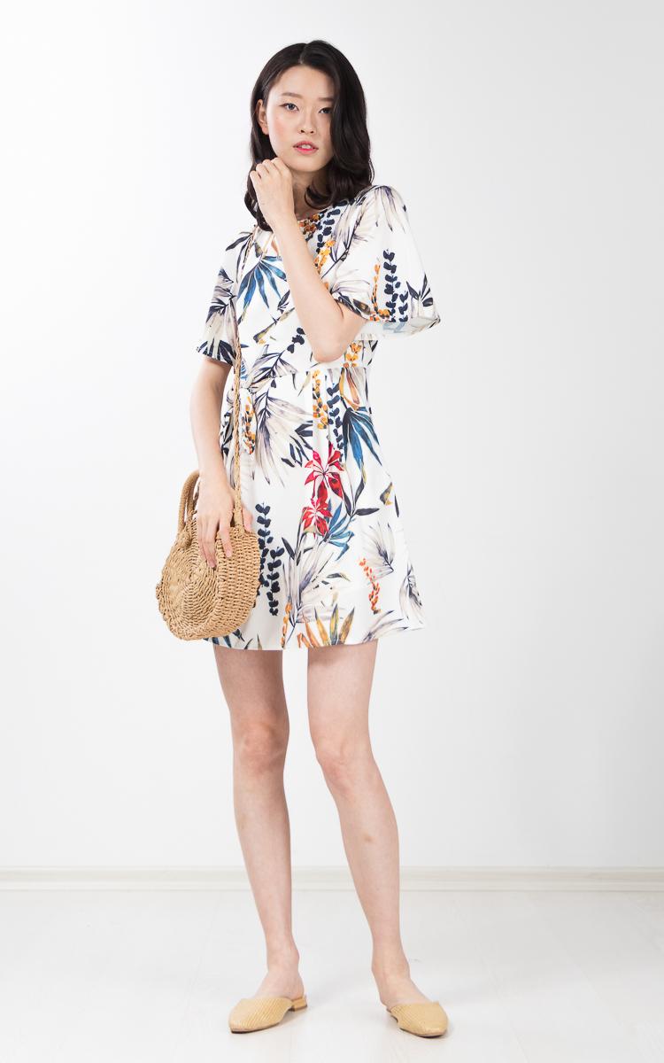 Urania Printed Dress in White