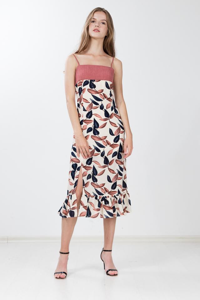 Dabria Printed Flute Hem Dress