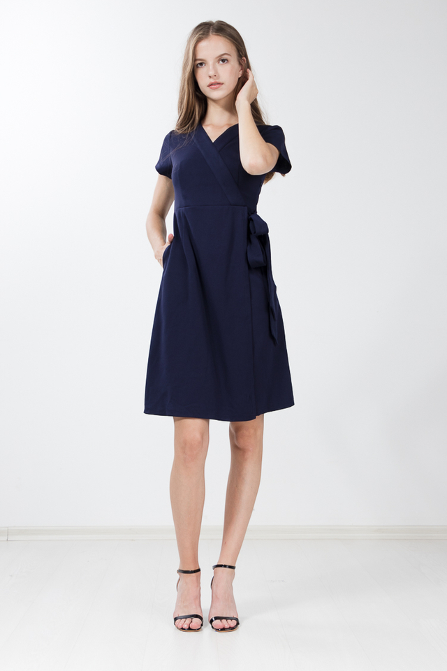 Caesarea Faux Wrap Dress in Navy Blue