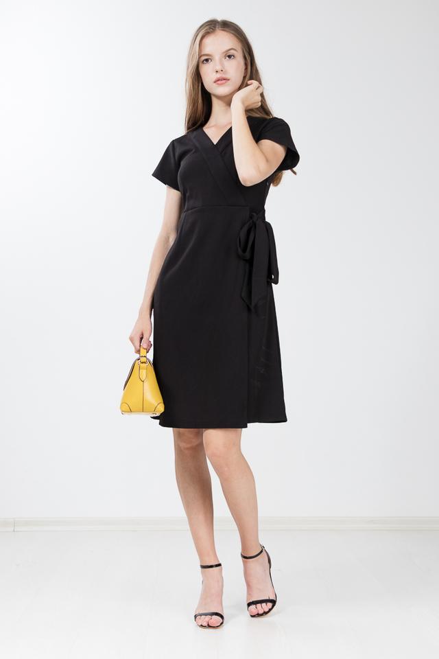 Caesarea Faux Wrap Dress in Black