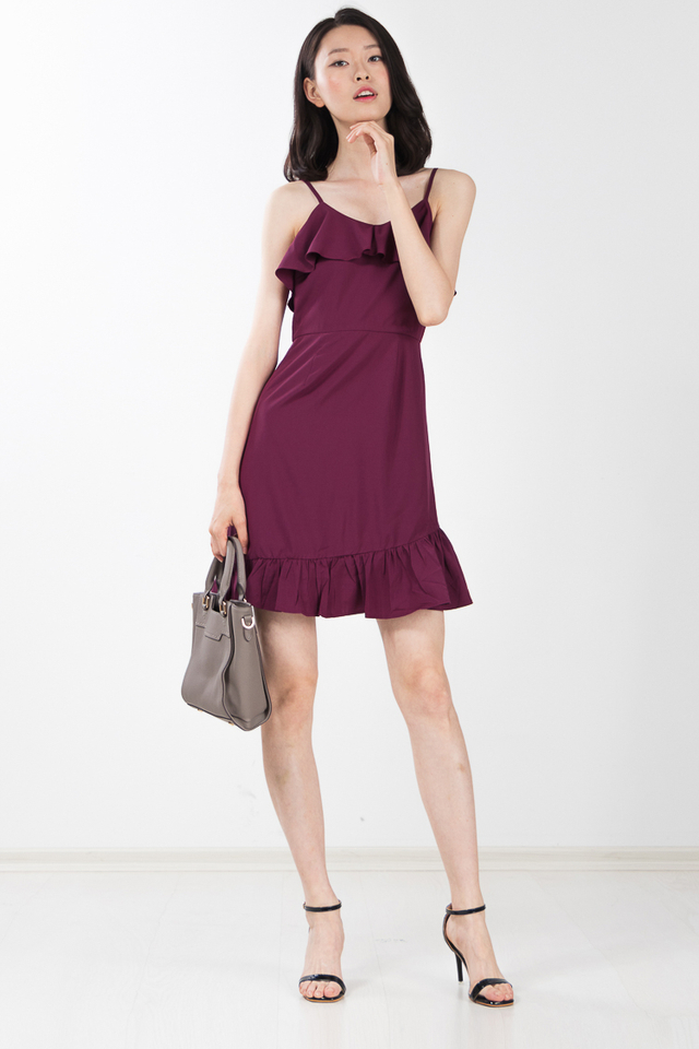 Blanca Ruffle Dress in Magenta