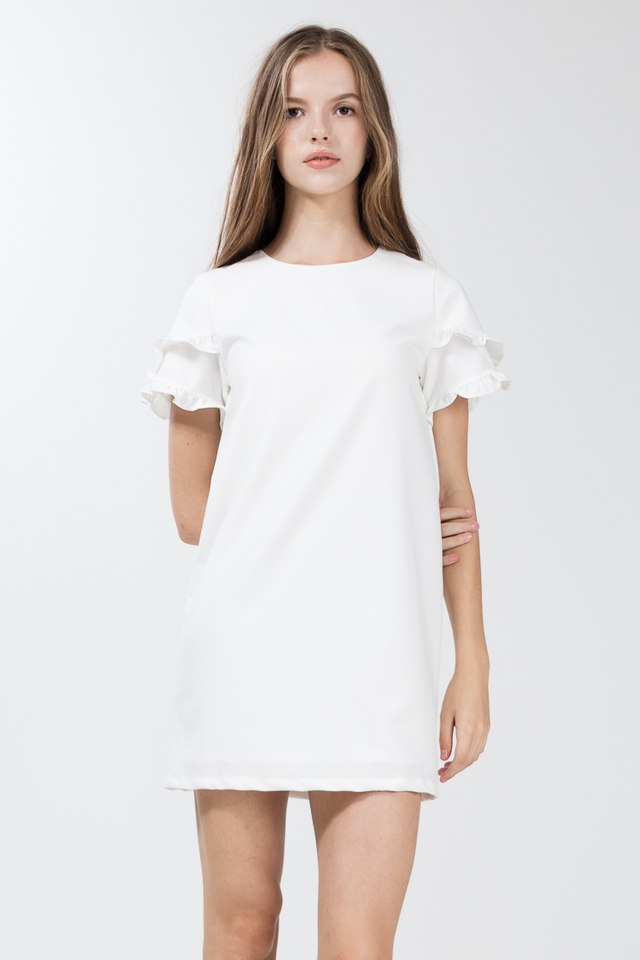 Etricia Ruffle Dress in White