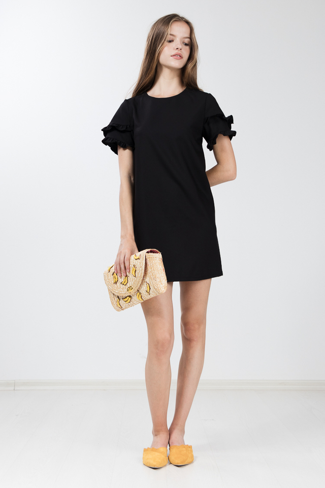 Etricia Ruffle Dress in Black