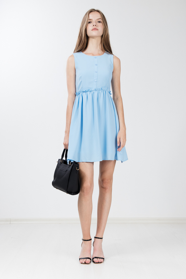 Jodie Gathered Flare Dress in Sky Blue