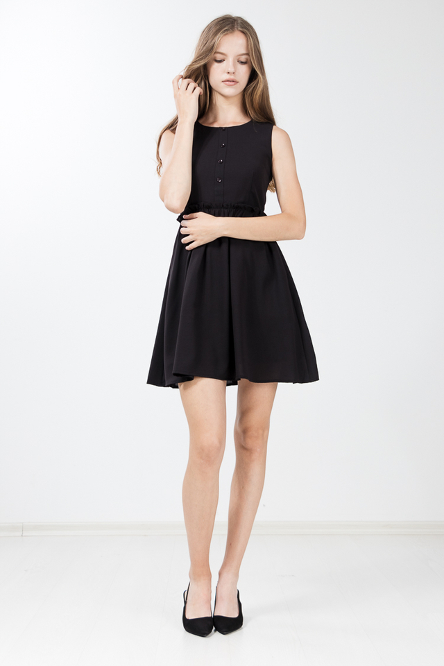 Jodie Gathered Flare Dress in Black
