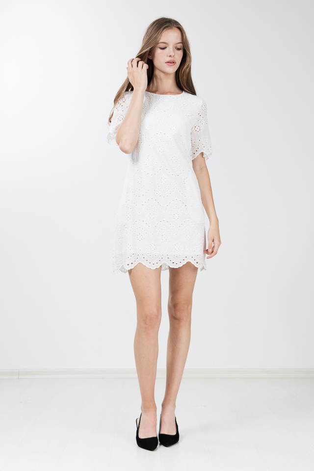 Nawa Eyelet Dress in White