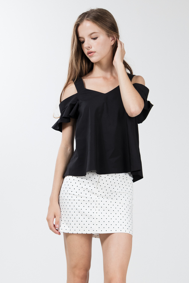 Tiana Drop Shoulder Top in Black