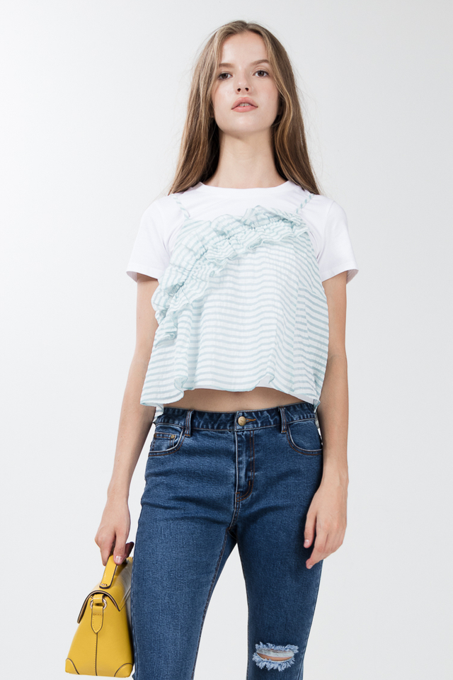 Fay Flare Top in Mint