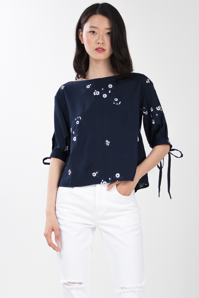 Zane Embroidered Top in Navy Blue
