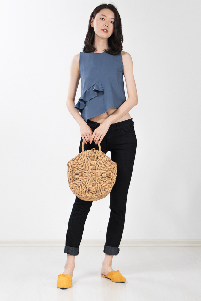 Unice Ruffle Top in Dusty Blue