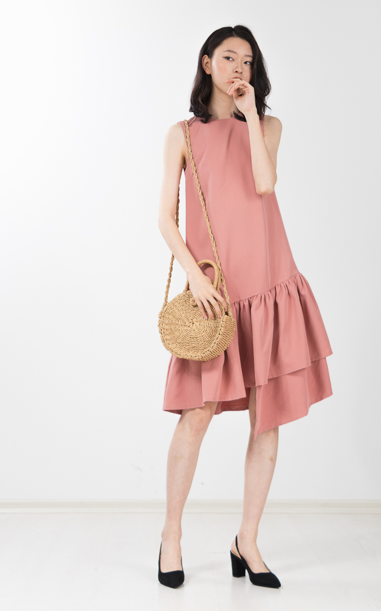 Earlene Asymmetrical Dress in Pink