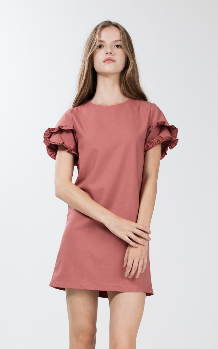 Etricia Ruffle Dress in Hazelnut