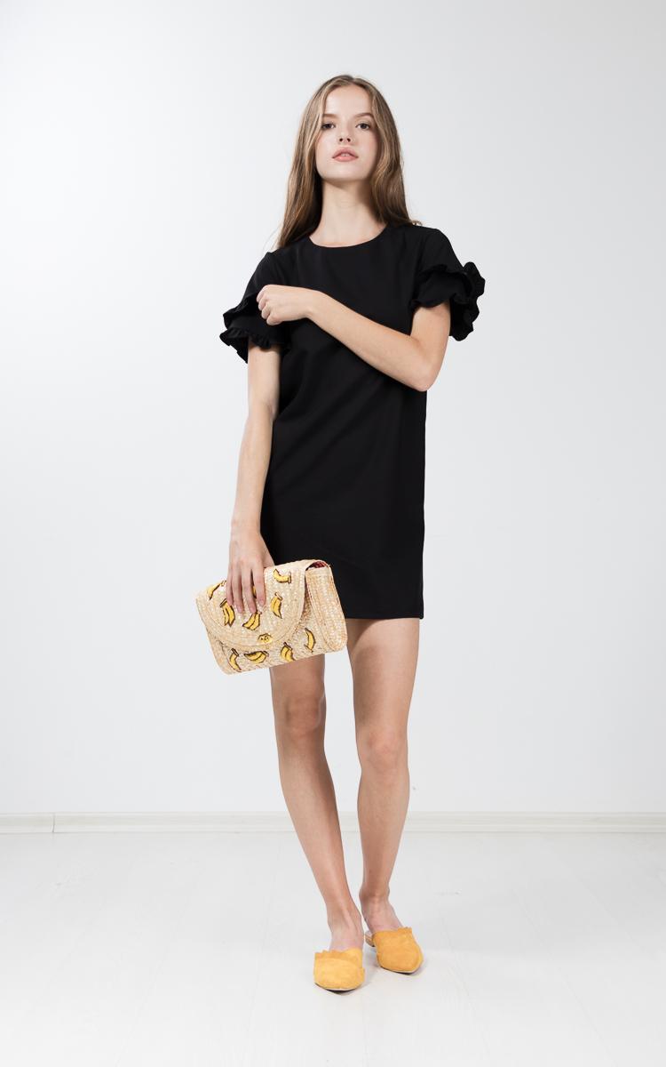 Etricia Ruffle Dress in Black