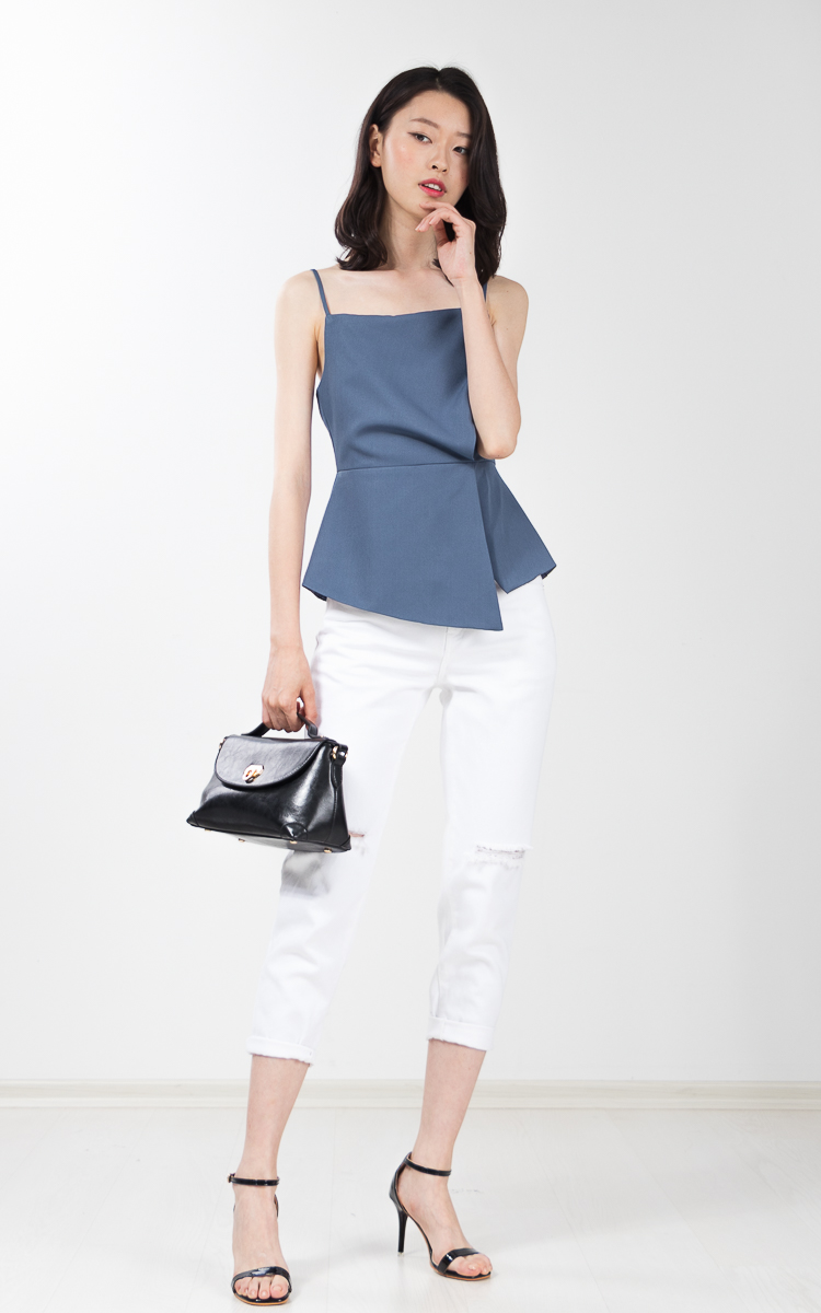 Wynne Peplum Top in Dusty Blue