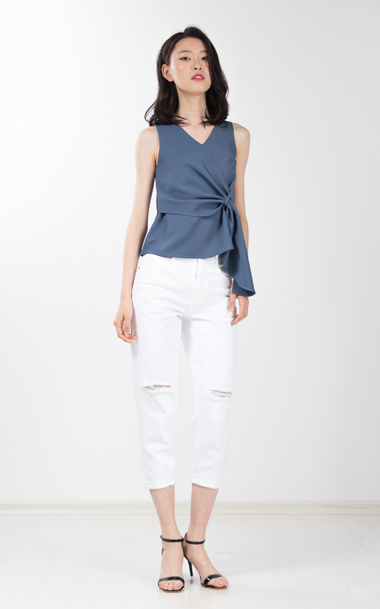 Tawney Drape Top in Dusty Blue
