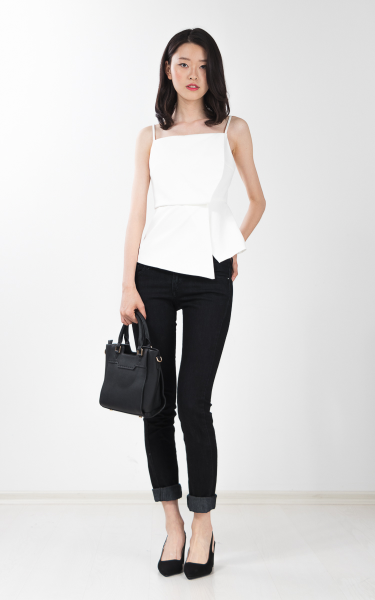Wynne Peplum Top in White